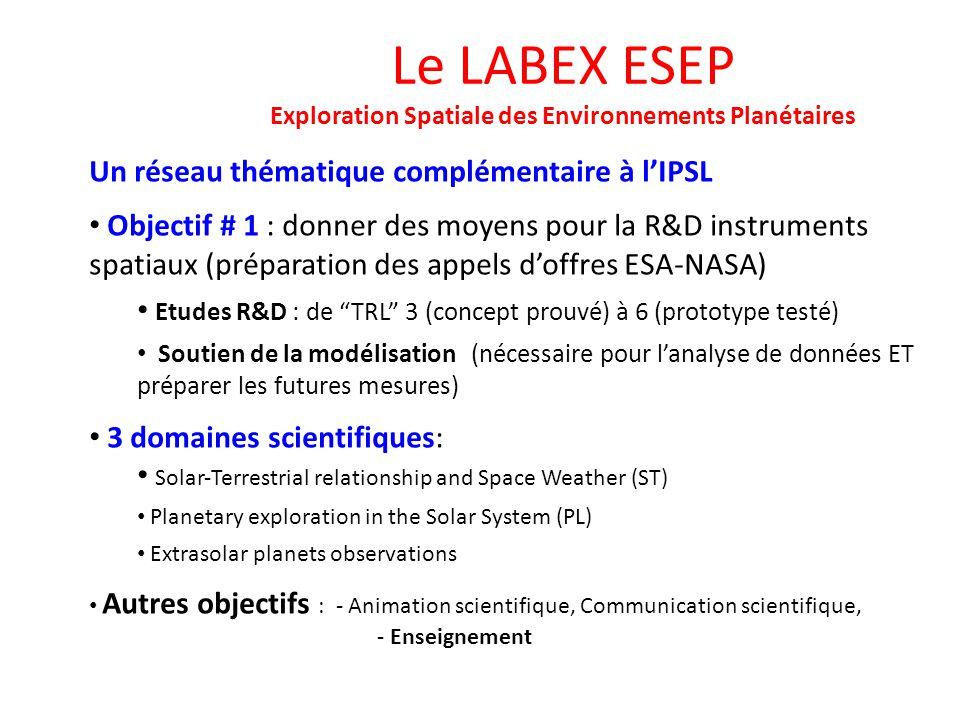 Le LABEX ESEP Exploration Spatiale des Environnements Planétaires Un réseau thématique complémentaire à lIPSL Objectif # 1 : donner des moyens pour la