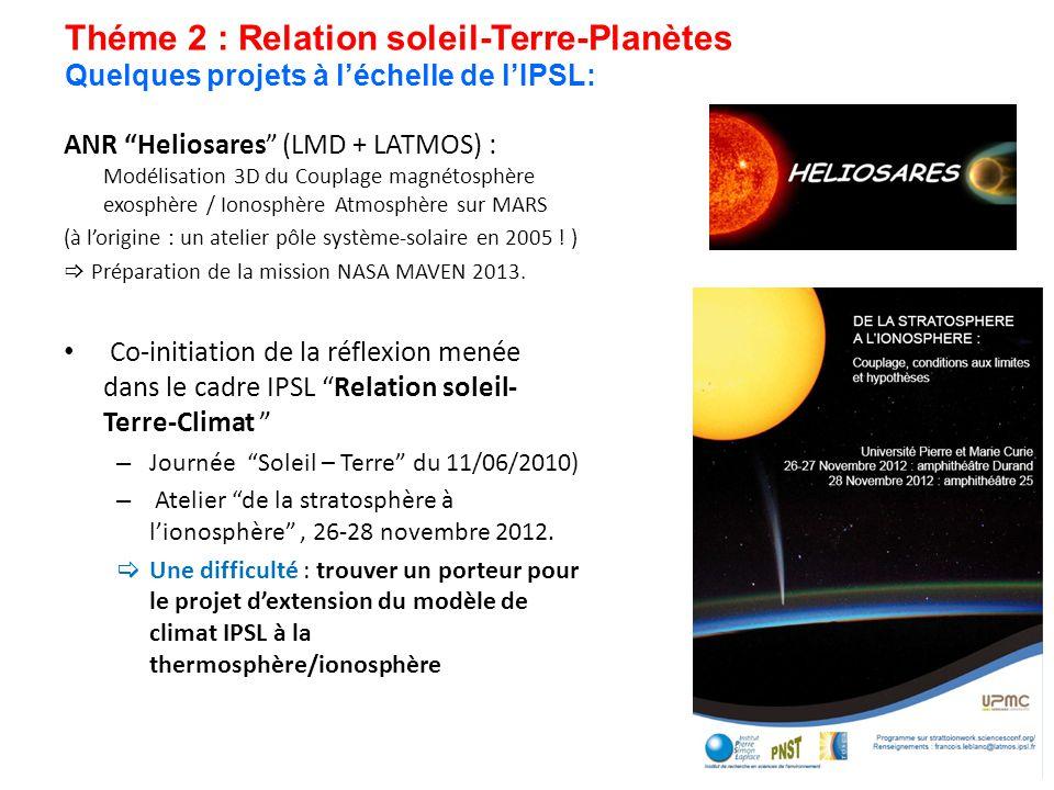 Théme 2 : Relation soleil-Terre-Planètes Quelques projets à léchelle de lIPSL: ANR Heliosares (LMD + LATMOS) : Modélisation 3D du Couplage magnétosphè