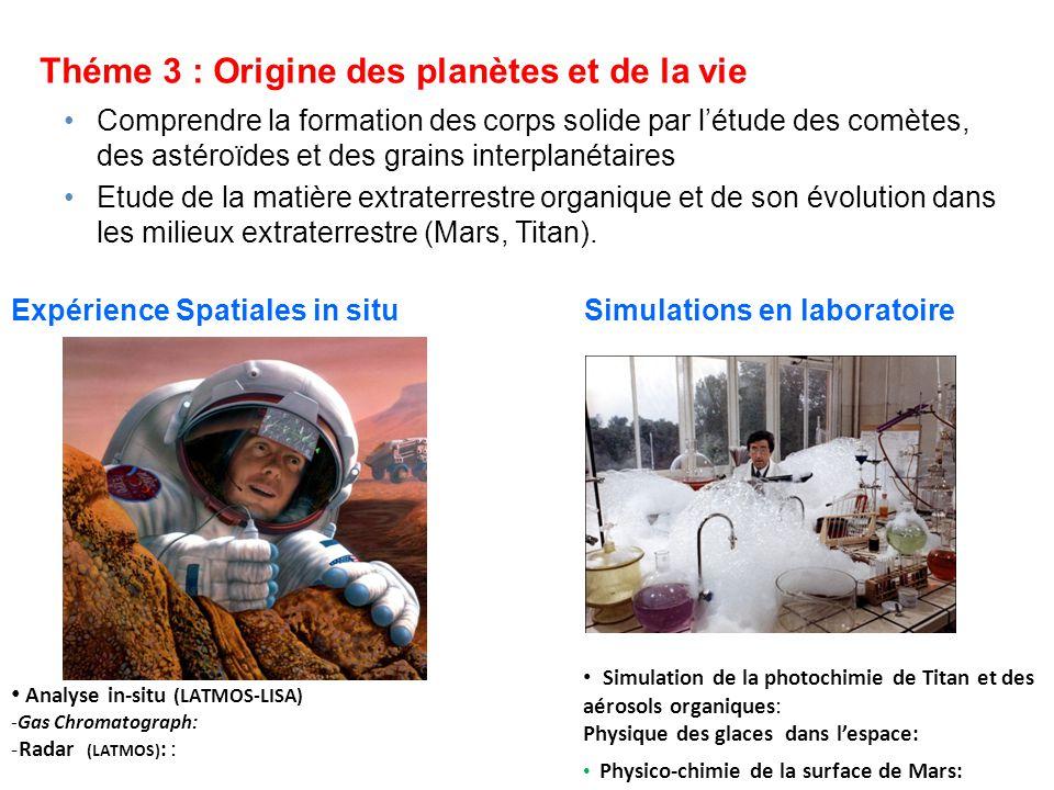 Théme 3 : Origine des planètes et de la vie Expériences de photochimie en orbite basse (LISA-LATMOS) Comprendre la formation des corps solide par létude des comètes, des astéroïdes et des grains interplanétaires Etude de la matière extraterrestre organique et de son évolution dans les milieux extraterrestre (Mars, Titan).
