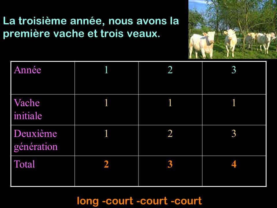 Année123 Vache initiale 111 Deuxième génération 123 Total234 La troisième année, nous avons la première vache et trois veaux. long -court -court -cour