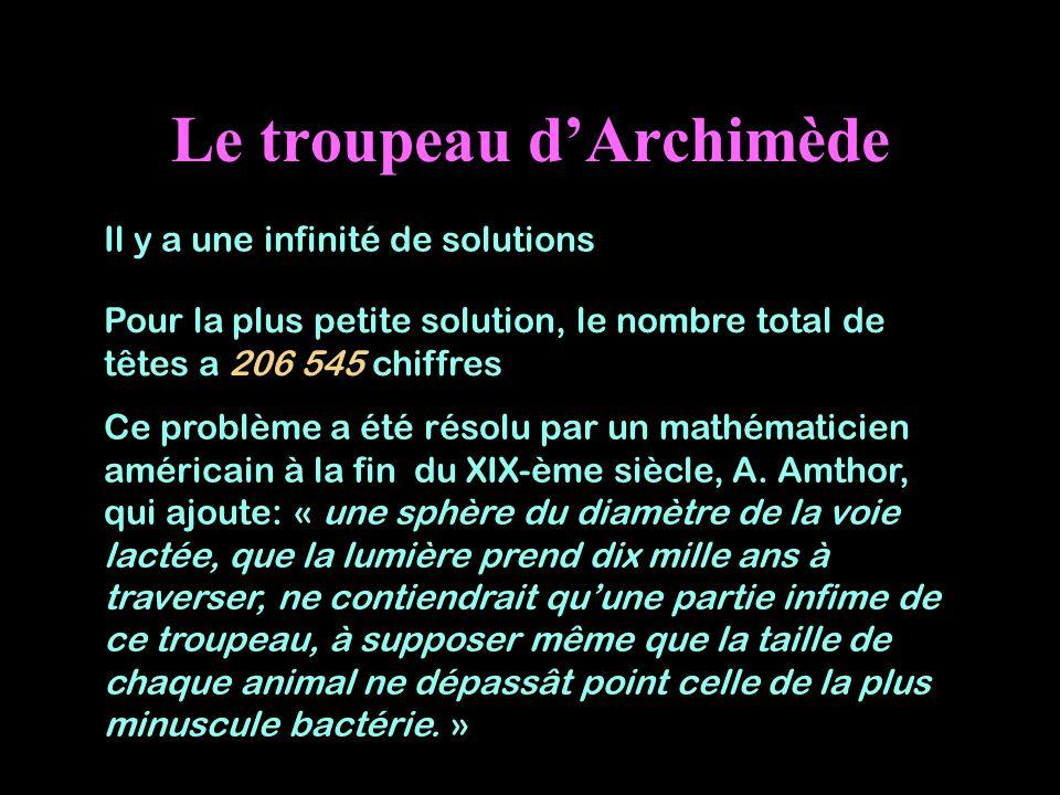 Le troupeau dArchimède Il y a une infinité de solutions Pour la plus petite solution, le nombre total de têtes a 206 545 chiffres Ce problème a été ré