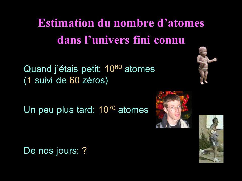 Estimation du nombre datomes dans lunivers fini connu Quand jétais petit: 10 60 atomes (1 suivi de 60 zéros) Un peu plus tard: 10 70 atomes De nos jou
