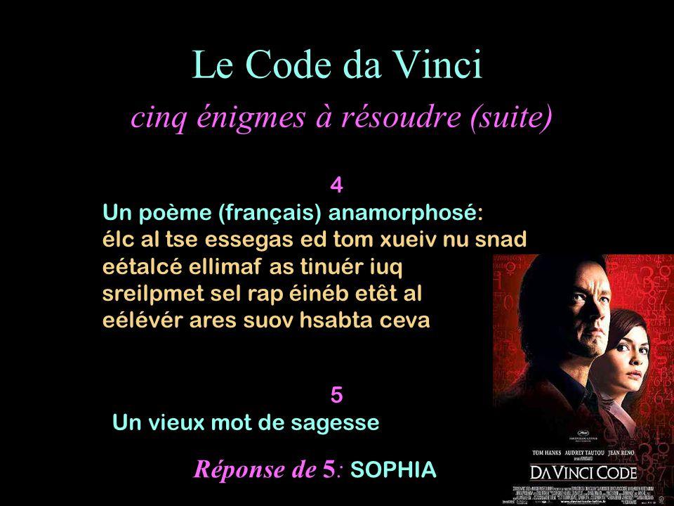 Le Code da Vinci cinq énigmes à résoudre (suite) 4 Un poème (français) anamorphosé: élc al tse essegas ed tom xueiv nu snad eétalcé ellimaf as tinuér