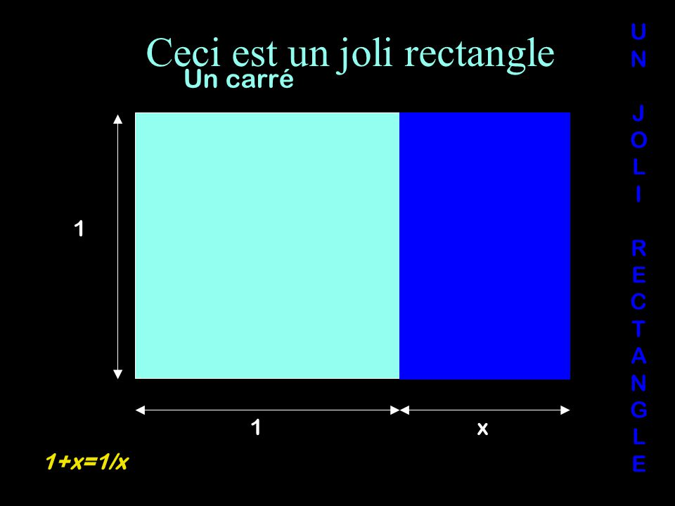 Ceci est un joli rectangle UNJOLIRECTANGLEUNJOLIRECTANGLE Un carré 1 1x 1+x=1/x