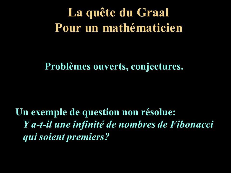 La quête du Graal Pour un mathématicien Un exemple de question non résolue: Y a-t-il une infinité de nombres de Fibonacci qui soient premiers? Problèm