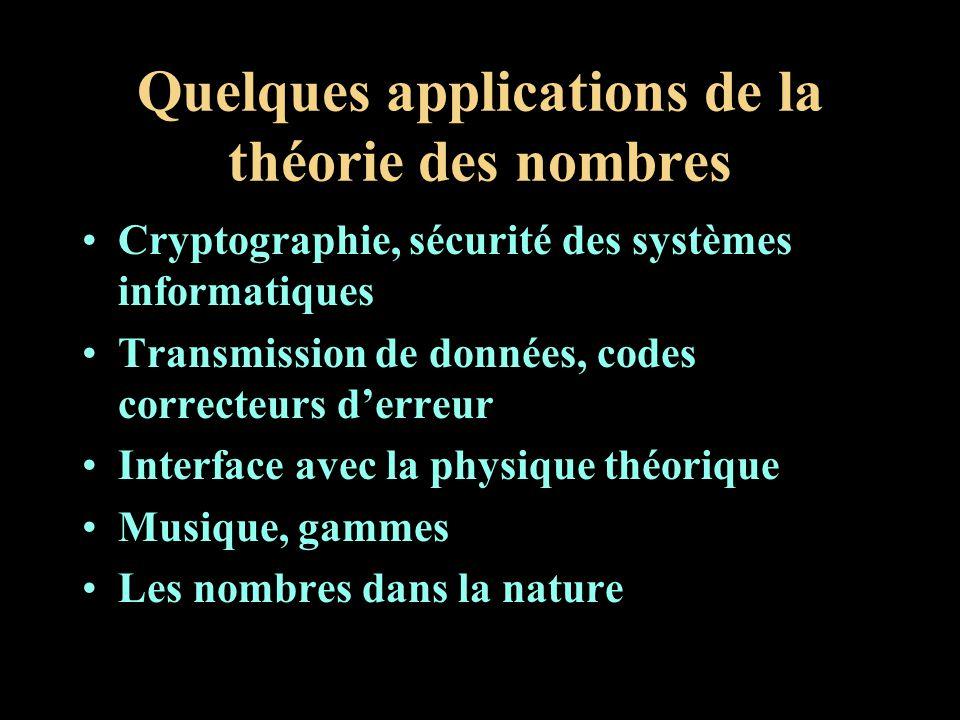 Quelques applications de la théorie des nombres Cryptographie, sécurité des systèmes informatiques Transmission de données, codes correcteurs derreur