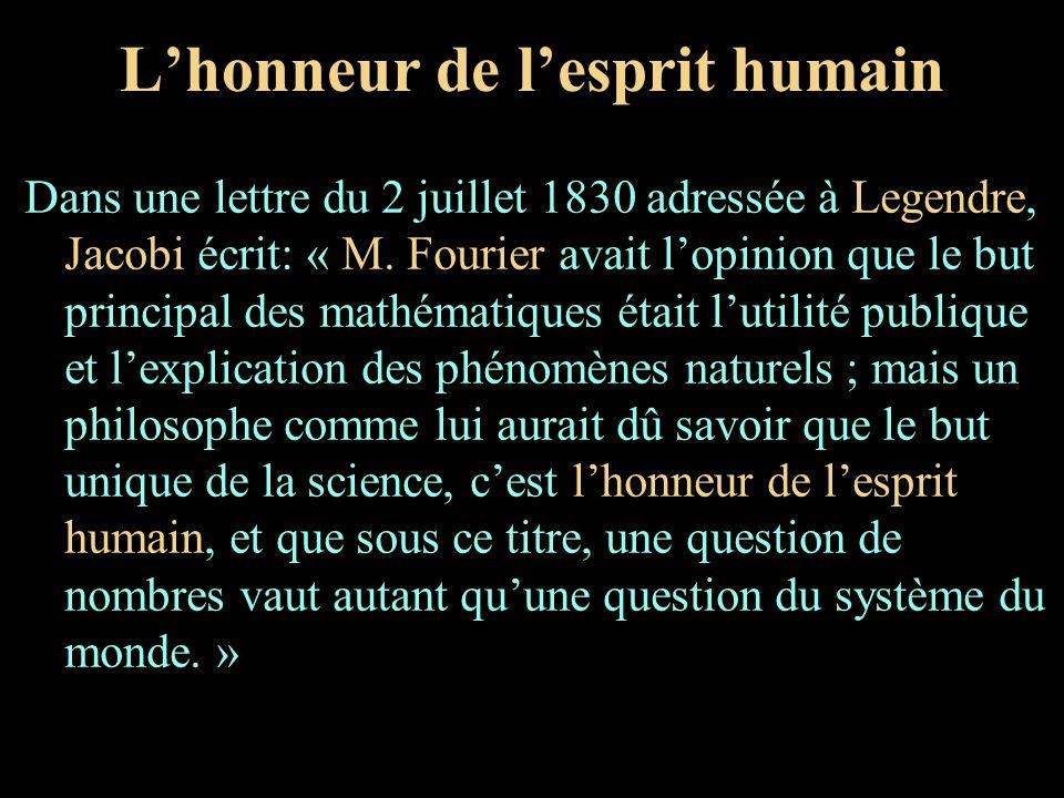 Lhonneur de lesprit humain Dans une lettre du 2 juillet 1830 adressée à Legendre, Jacobi écrit: « M. Fourier avait lopinion que le but principal des m