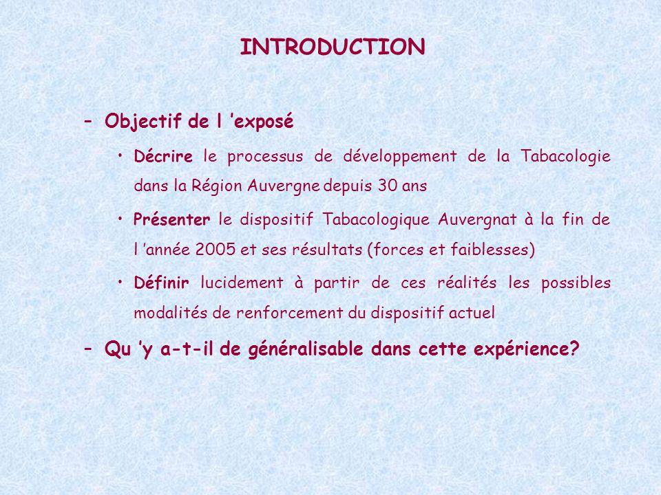INTRODUCTION –Objectif de l exposé Décrire le processus de développement de la Tabacologie dans la Région Auvergne depuis 30 ans Présenter le dispositif Tabacologique Auvergnat à la fin de l année 2005 et ses résultats (forces et faiblesses) Définir lucidement à partir de ces réalités les possibles modalités de renforcement du dispositif actuel –Qu y a-t-il de généralisable dans cette expérience?