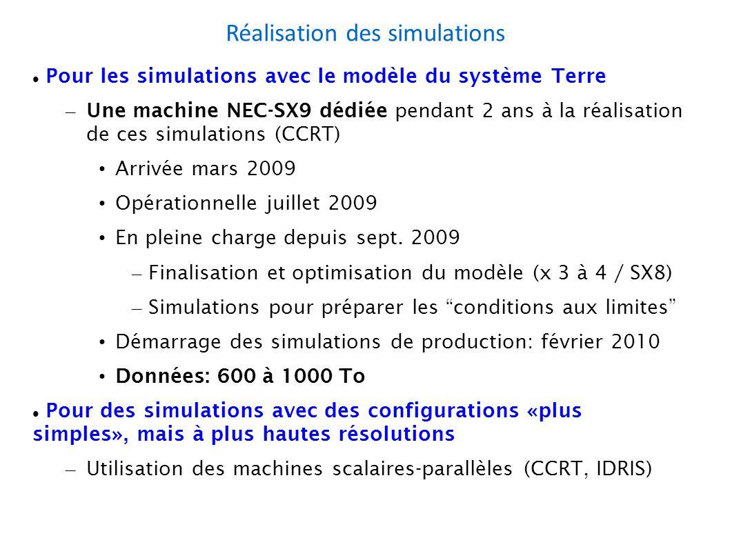 Réalisation des simulations Pour les simulations avec le modèle du système Terre – Une machine NEC-SX9 dédiée pendant 2 ans à la réalisation de ces simulations (CCRT) Arrivée mars 2009 Opérationnelle juillet 2009 En pleine charge depuis sept.