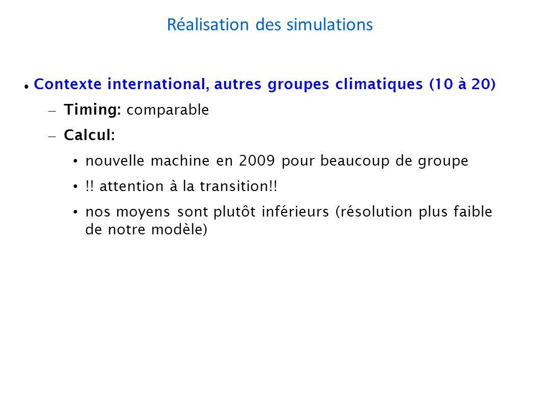 Réalisation des simulations Contexte international, autres groupes climatiques (10 à 20) – Timing: comparable – Calcul: nouvelle machine en 2009 pour beaucoup de groupe !.