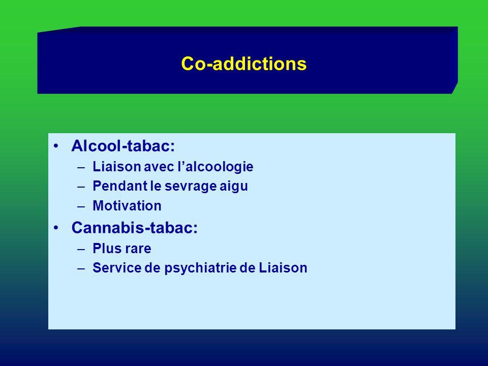 Co-addictions Alcool-tabac: –Liaison avec lalcoologie –Pendant le sevrage aigu –Motivation Cannabis-tabac: –Plus rare –Service de psychiatrie de Liais