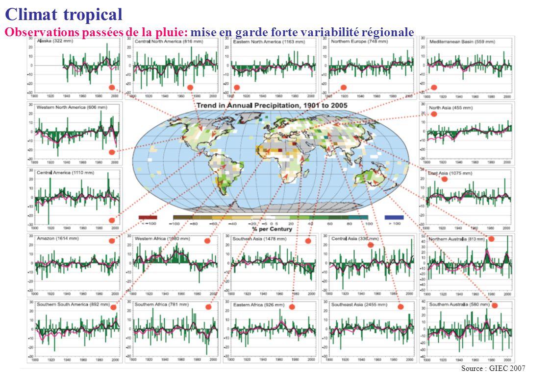 Climat tropical Observations passées de la pluie: mise en garde forte variabilité régionale Source : GIEC 2007