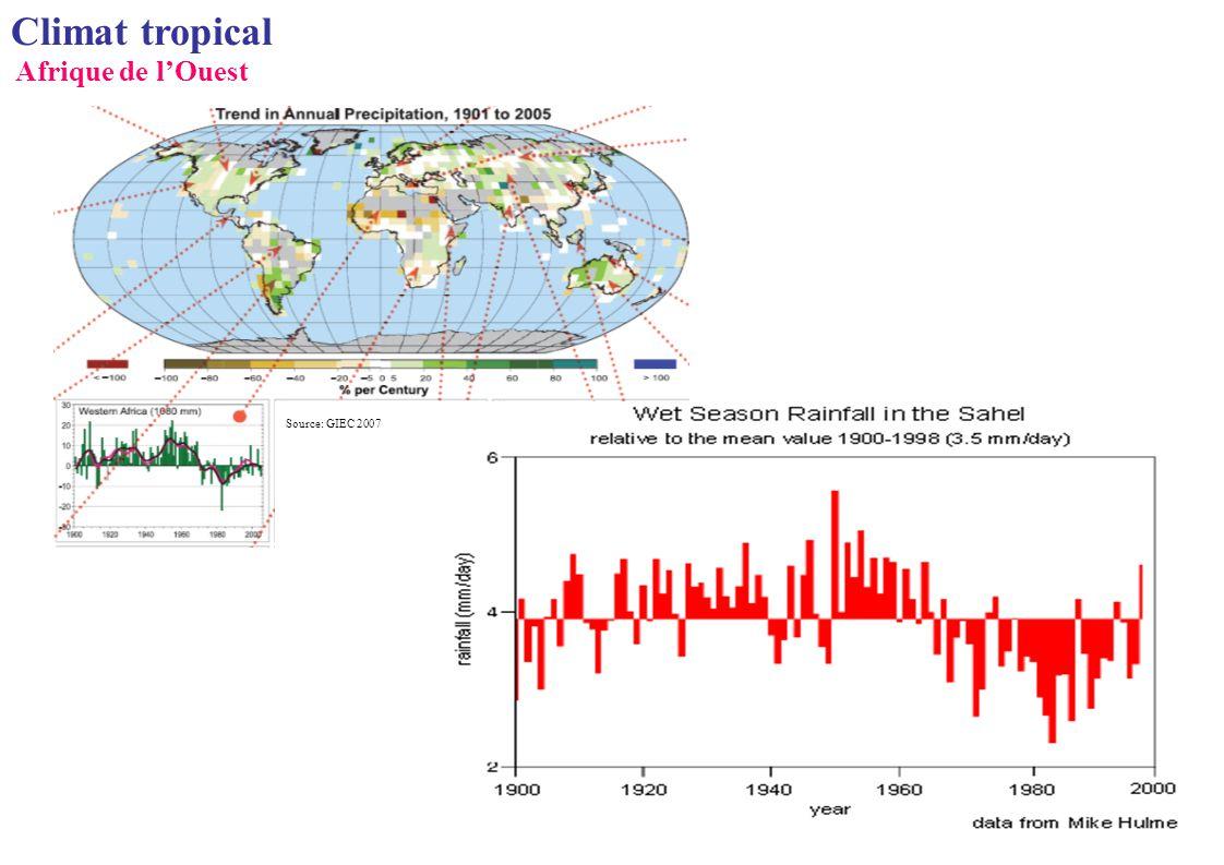 Source: GIEC 2007 Climat tropical Afrique de lOuest