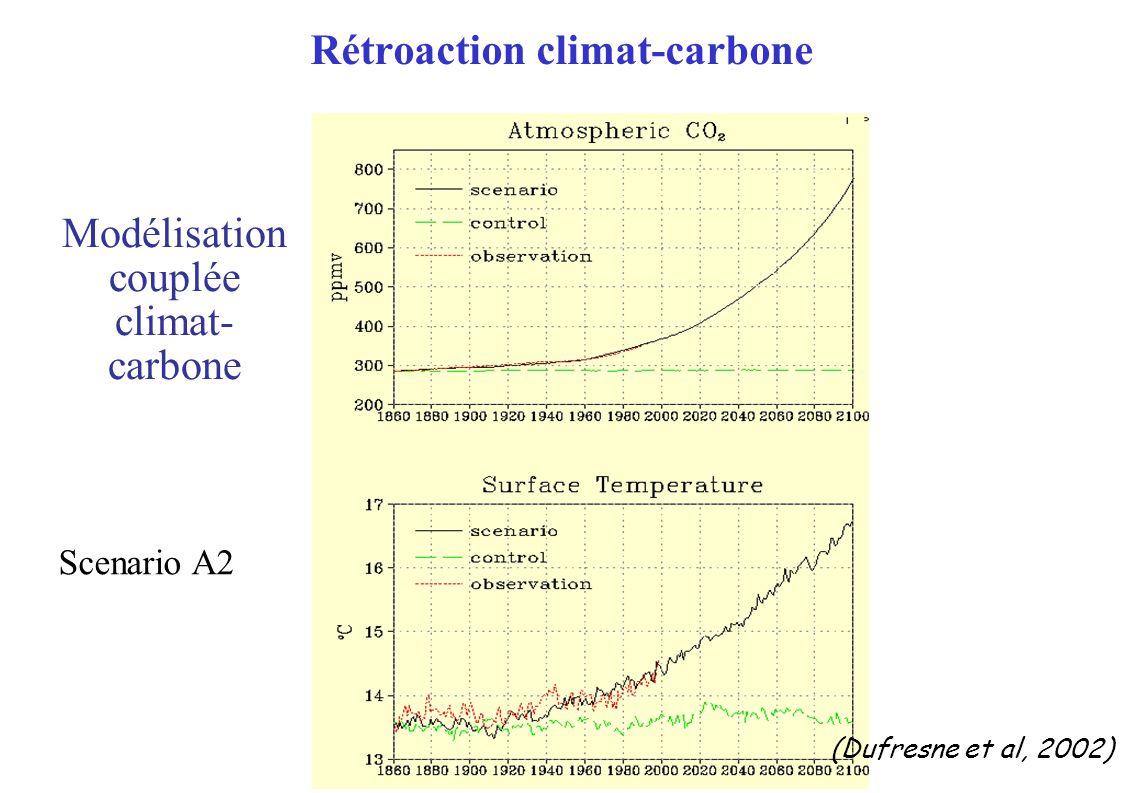 (Dufresne et al, 2002) Scenario A2 Rétroaction climat-carbone Modélisation couplée climat- carbone