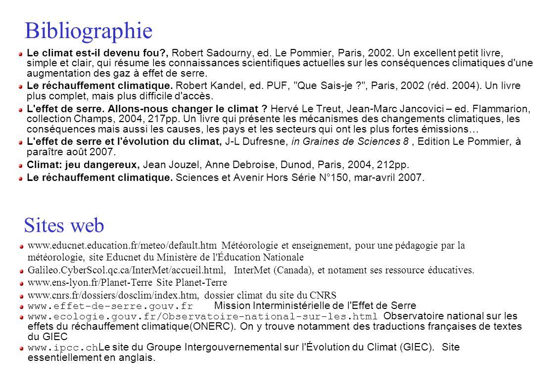 Bibliographie Le climat est-il devenu fou?, Robert Sadourny, ed. Le Pommier, Paris, 2002. Un excellent petit livre, simple et clair, qui résume les co