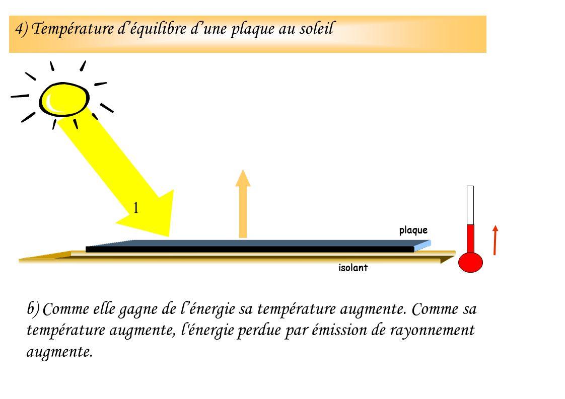 b) Comme elle gagne de lénergie sa température augmente. Comme sa température augmente, l'énergie perdue par émission de rayonnement augmente. isolant