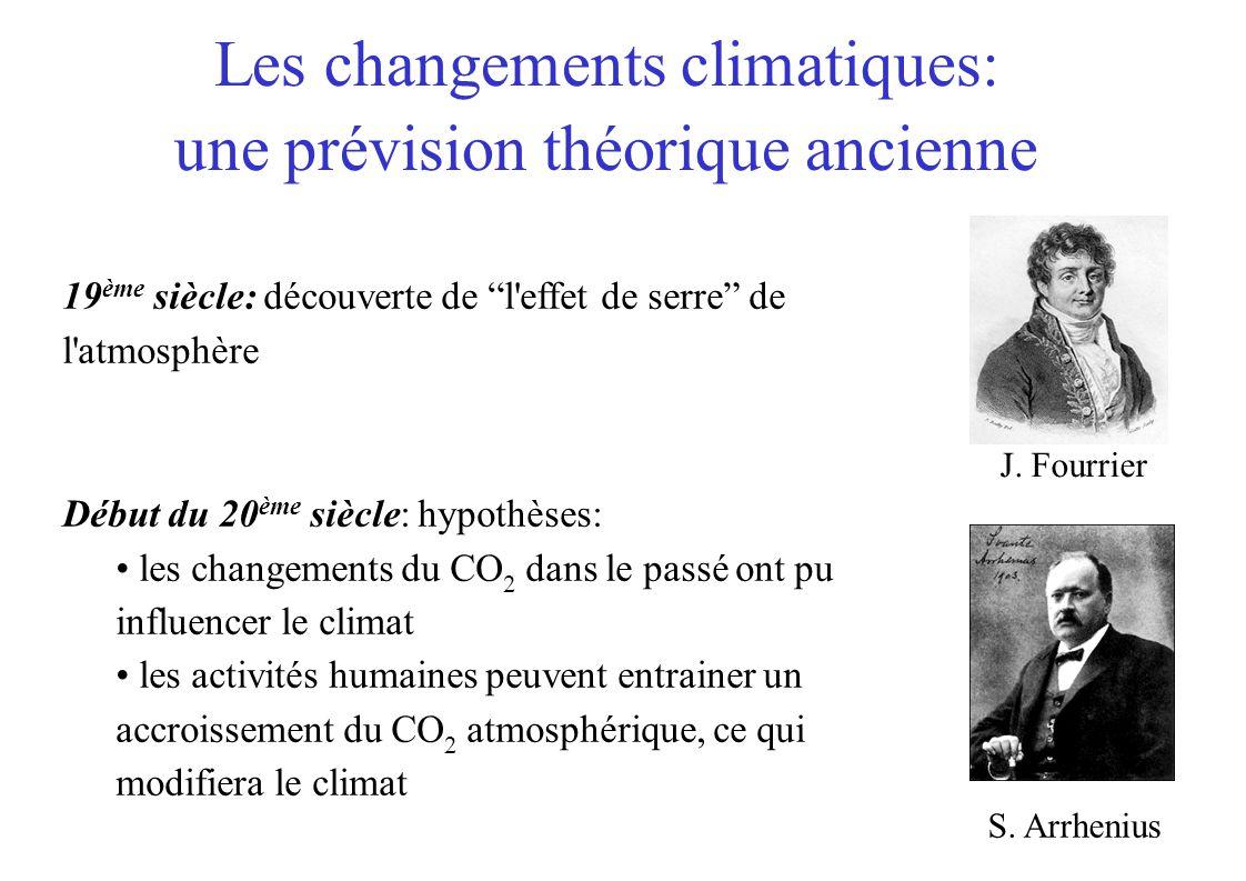 Les changements climatiques: une prévision théorique ancienne 19 ème siècle: découverte de l'effet de serre de l'atmosphère Début du 20 ème siècle: hy