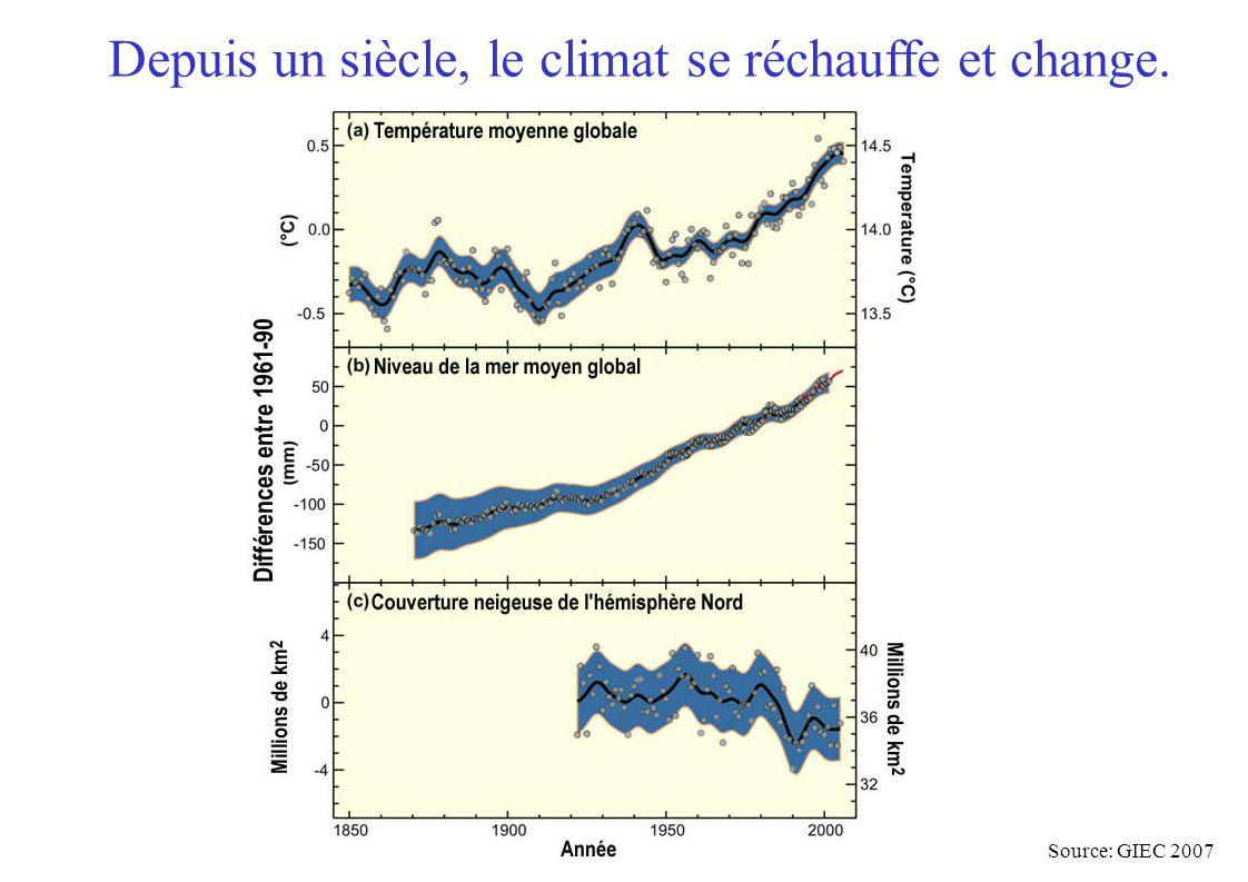 Depuis un siècle, le climat se réchauffe et change. Source: GIEC 2007