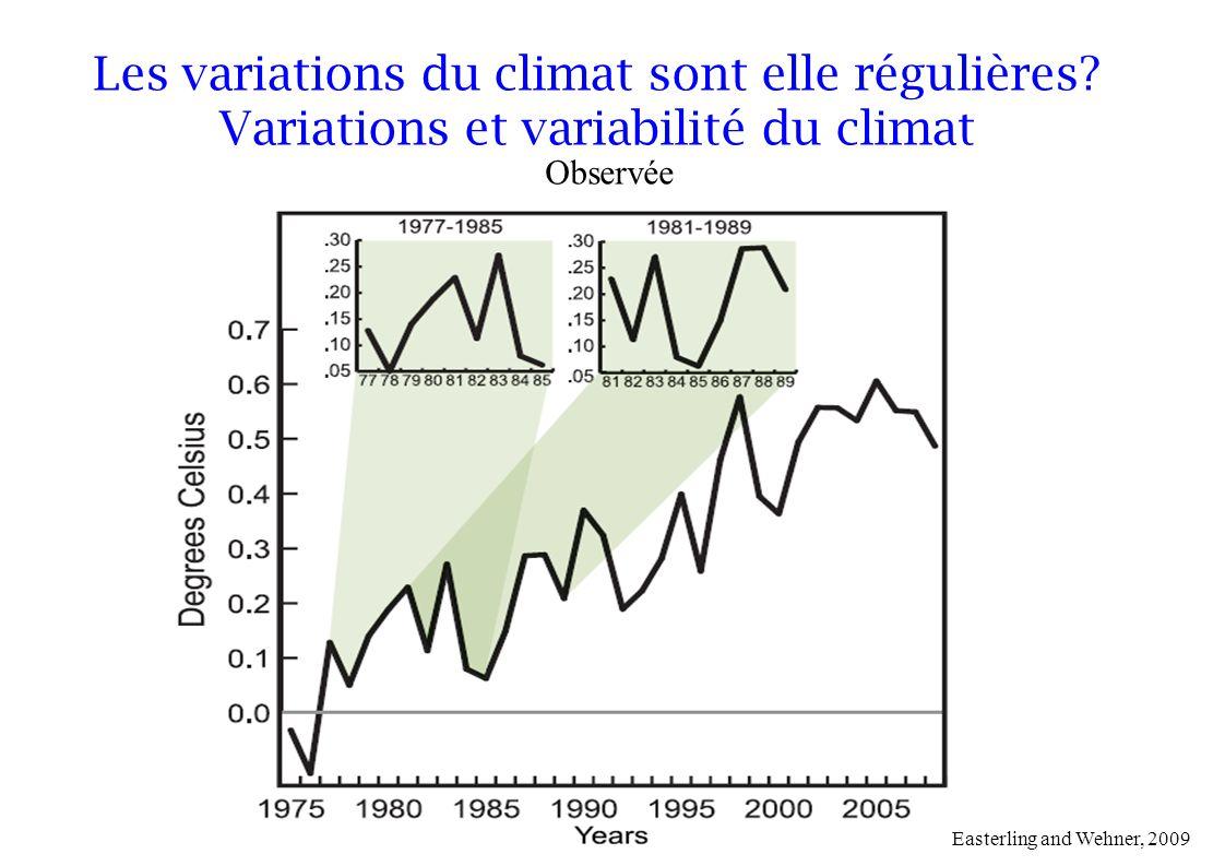 Easterling and Wehner, 2009 Observée Les variations du climat sont elle régulières? Variations et variabilité du climat