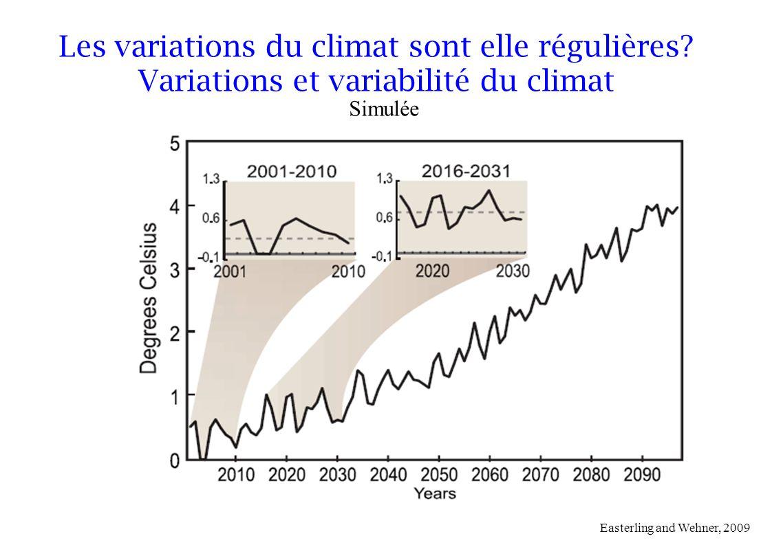 Simulée Easterling and Wehner, 2009 Les variations du climat sont elle régulières? Variations et variabilité du climat