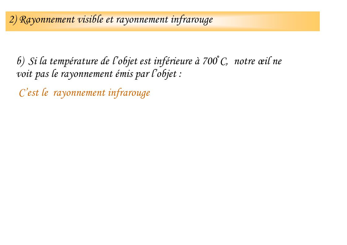 b) Si la température de lobjet est inférieure à 700°C, notre œil ne voit pas le rayonnement émis par lobjet : Cest le rayonnement infrarouge 2) Rayonn
