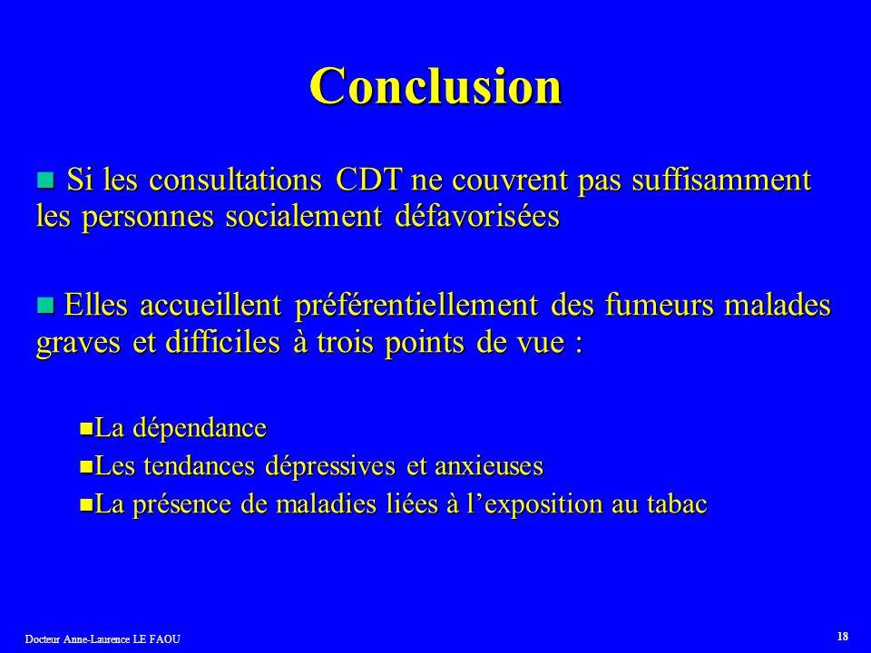 Docteur Anne-Laurence LE FAOU 18 Conclusion Si les consultations CDT ne couvrent pas suffisamment les personnes socialement défavorisées Si les consul