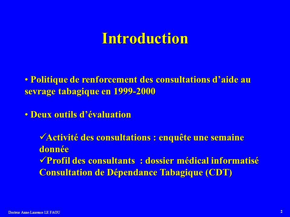 Docteur Anne-Laurence LE FAOU 2 Introduction Politique de renforcement des consultations daide au sevrage tabagique en 1999-2000 Politique de renforce