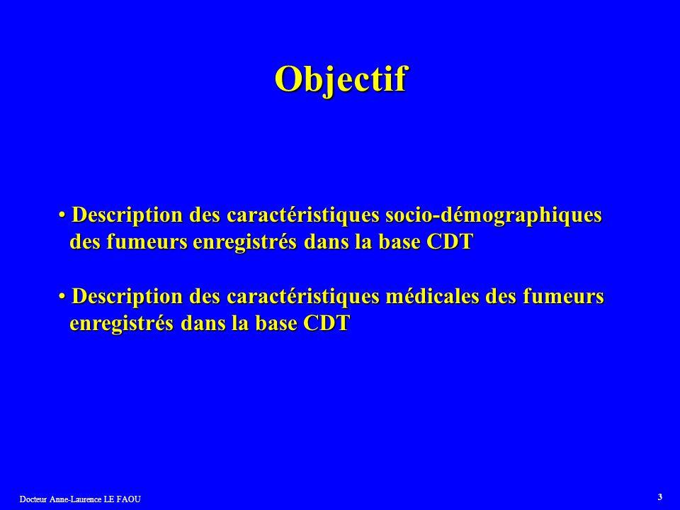 Docteur Anne-Laurence LE FAOU 3 Objectif Description des caractéristiques socio-démographiques Description des caractéristiques socio-démographiques d