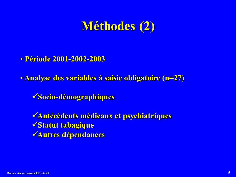 Docteur Anne-Laurence LE FAOU 5 Méthodes (2) Période 2001-2002-2003 Période 2001-2002-2003 Analyse des variables à saisie obligatoire (n=27) Analyse d