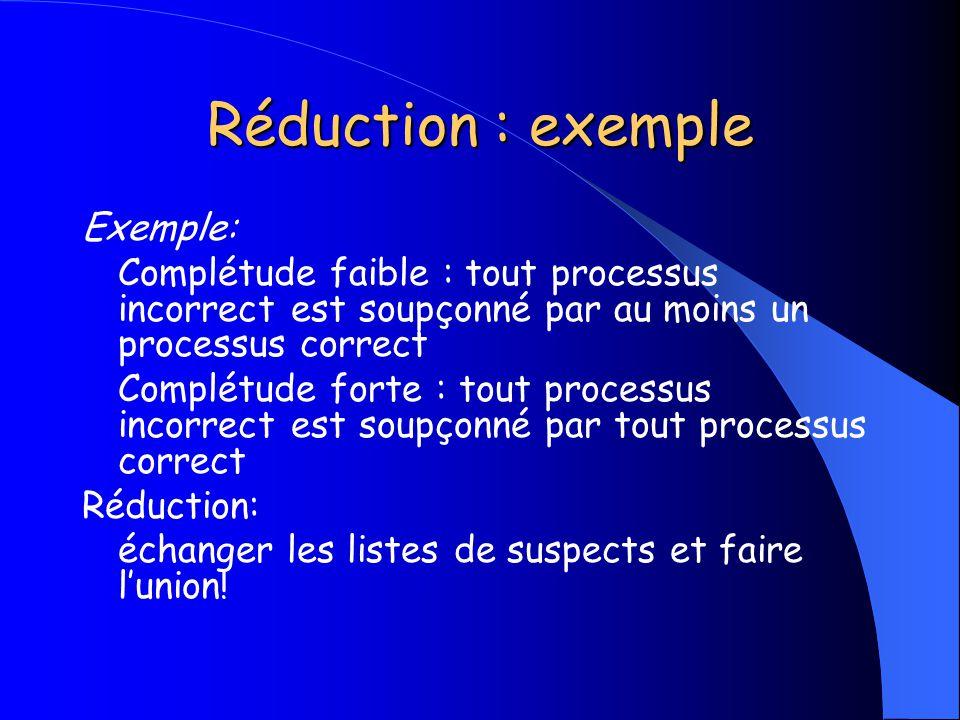 Réduction : exemple Exemple: Complétude faible : tout processus incorrect est soupçonné par au moins un processus correct Complétude forte : tout proc