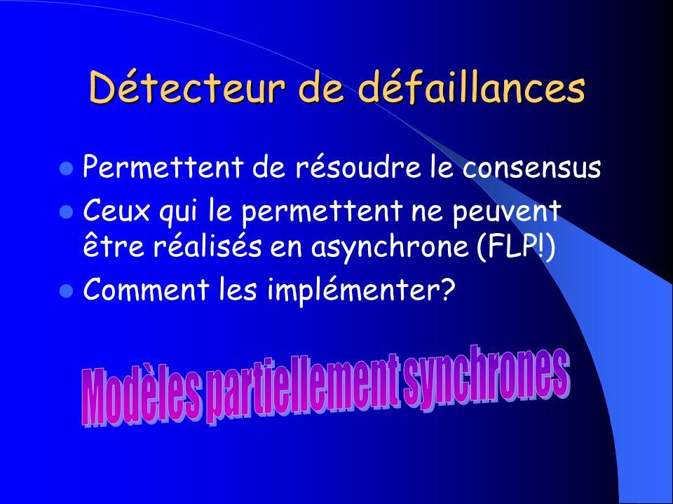 Détecteur de défaillances Permettent de résoudre le consensus Ceux qui le permettent ne peuvent être réalisés en asynchrone (FLP!) Comment les impléme