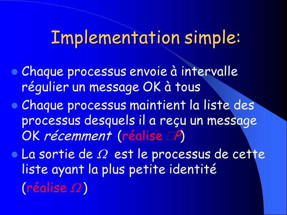 Implementation simple: Implementation simple: Chaque processus envoie à intervalle régulier un message OK à tous Chaque processus maintient la liste d