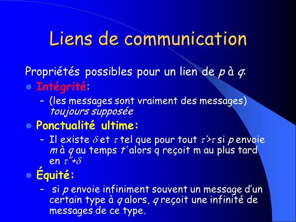 Liens de communication Propriétés possibles pour un lien de p à q: Intégrité: – (les messages sont vraiment des messages) toujours supposée Ponctualit
