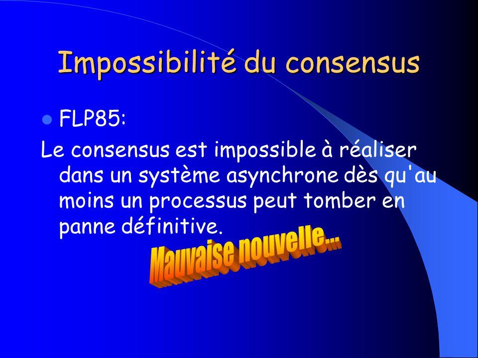 Impossibilité du consensus FLP85: Le consensus est impossible à réaliser dans un système asynchrone dès qu'au moins un processus peut tomber en panne