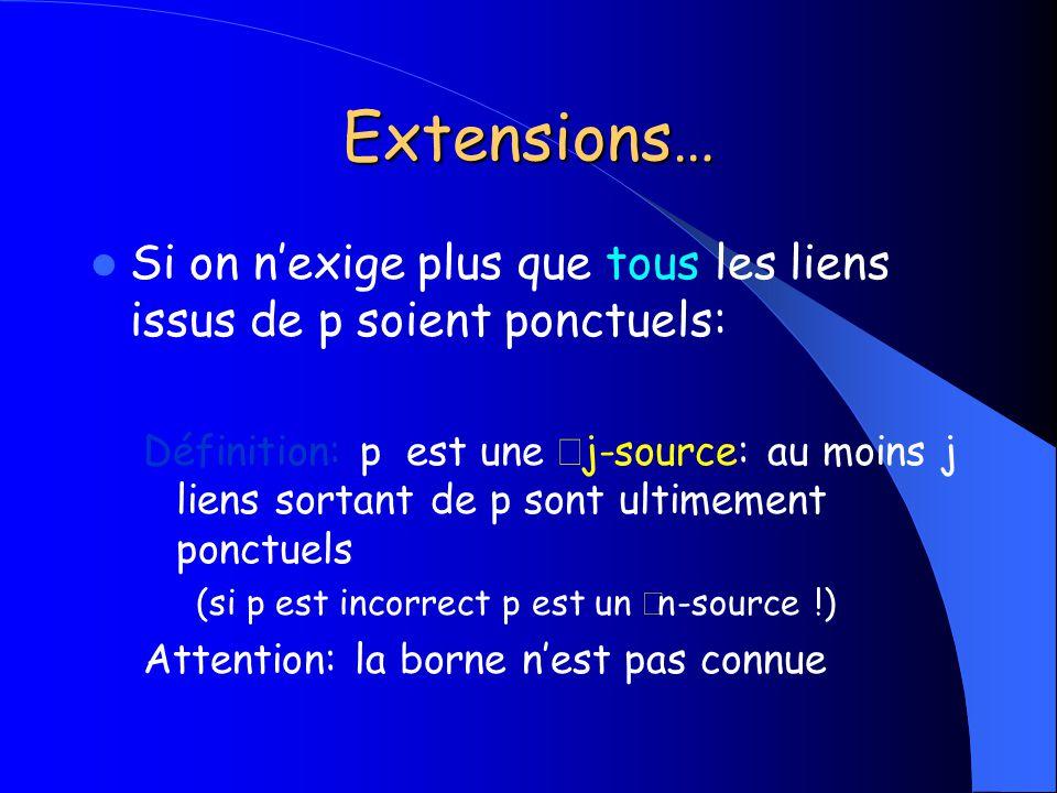 Extensions… Si on nexige plus que tous les liens issus de p soient ponctuels: Définition: p est une j-source: au moins j liens sortant de p sont ultim