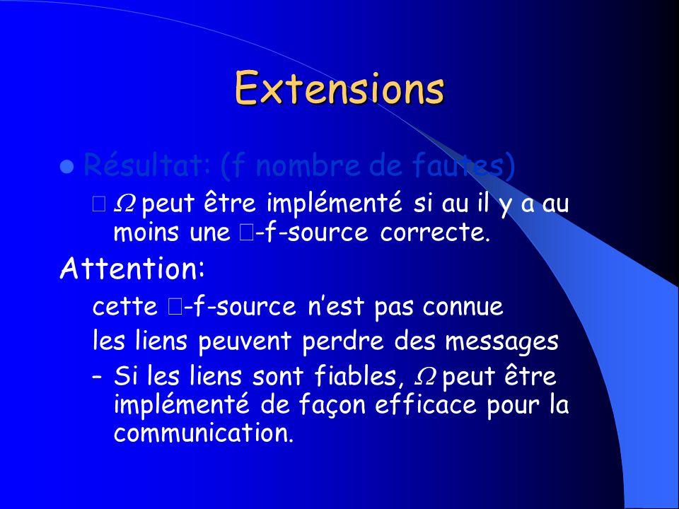 Extensions Résultat: (f nombre de fautes) – peut être implémenté si au il y a au moins une -f-source correcte. Attention: cette -f-source nest pas con