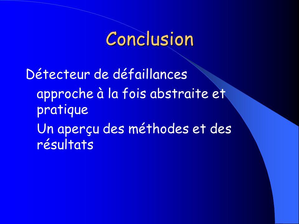 Conclusion Détecteur de défaillances approche à la fois abstraite et pratique Un aperçu des méthodes et des résultats