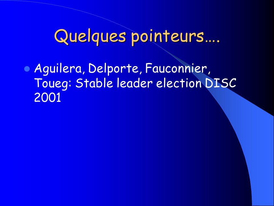 Quelques pointeurs…. Aguilera, Delporte, Fauconnier, Toueg: Stable leader election DISC 2001