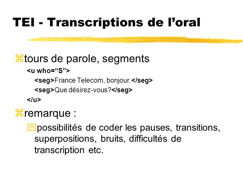 TEI - Transcriptions de loral ztours de parole, segments France Telecom, bonjour. Que désirez-vous? zremarque : ypossibilités de coder les pauses, tra