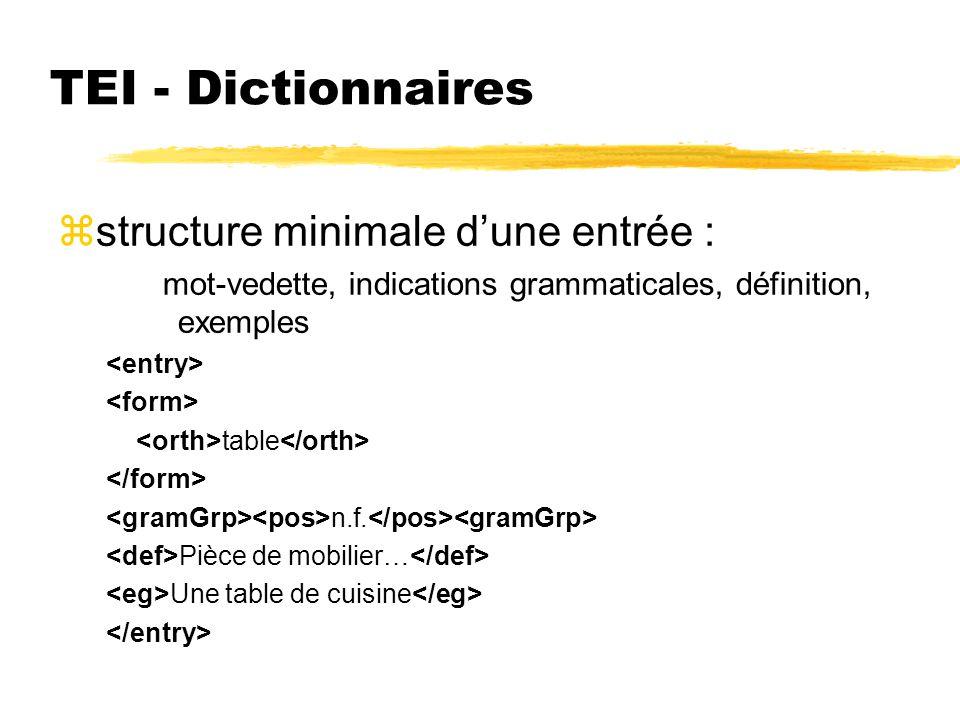 TEI - Dictionnaires zstructure minimale dune entrée : mot-vedette, indications grammaticales, définition, exemples table n.f. Pièce de mobilier… Une t