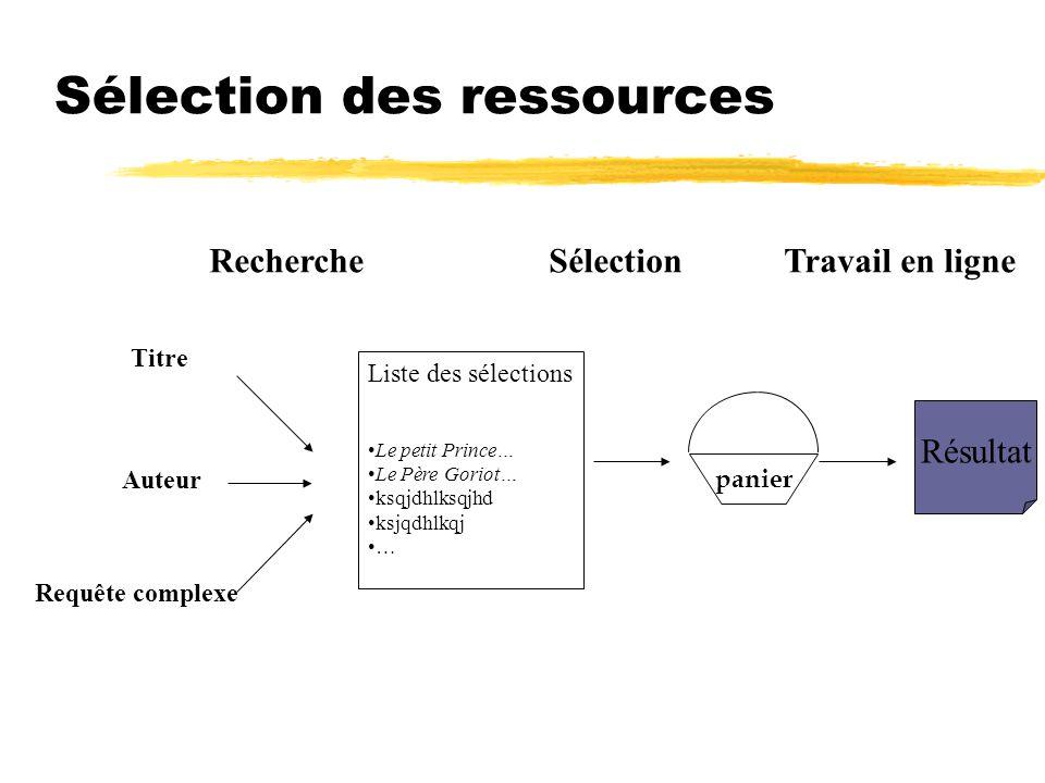 Sélection des ressources Liste des sélections Le petit Prince… Le Père Goriot… ksqjdhlksqjhd ksjqdhlkqj … Titre Auteur Requête complexe Recherche pani