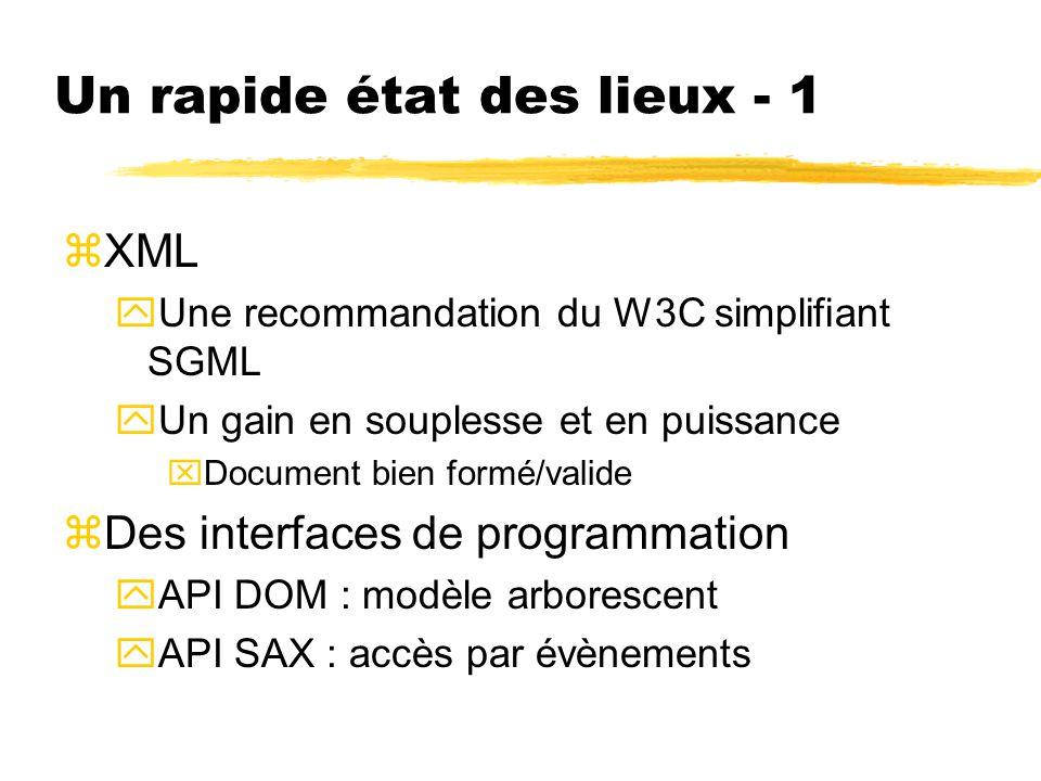 Un rapide état des lieux - 1 zXML yUne recommandation du W3C simplifiant SGML yUn gain en souplesse et en puissance xDocument bien formé/valide zDes i