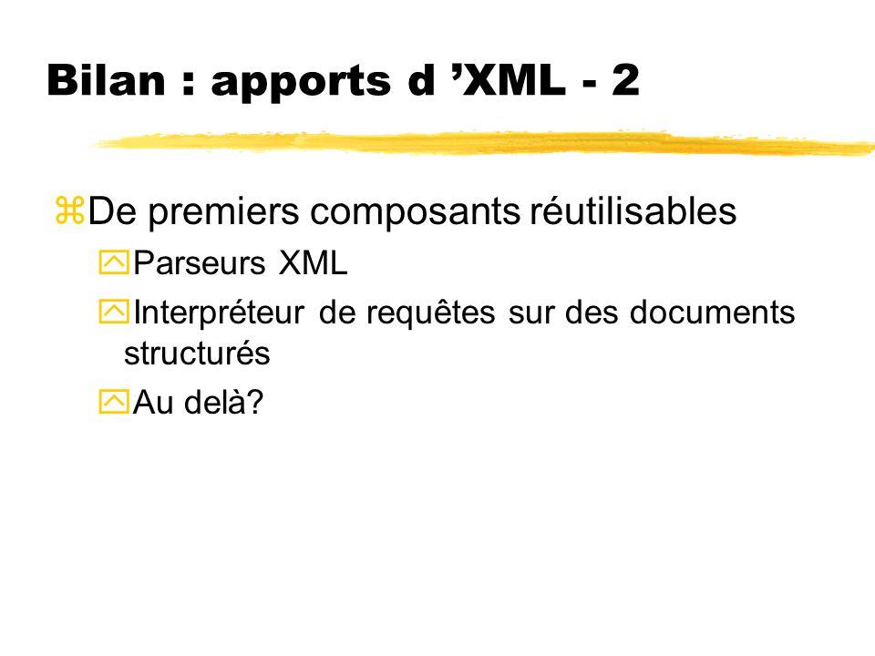 Bilan : apports d XML - 2 zDe premiers composants réutilisables yParseurs XML yInterpréteur de requêtes sur des documents structurés yAu delà?