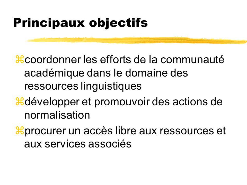 Principaux objectifs zcoordonner les efforts de la communauté académique dans le domaine des ressources linguistiques zdévelopper et promouvoir des ac