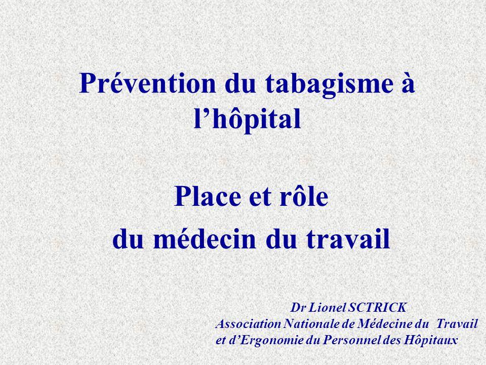 Prévention du tabagisme à lhôpital Place et rôle du médecin du travail Dr Lionel SCTRICK Association Nationale de Médecine du Travail et dErgonomie du