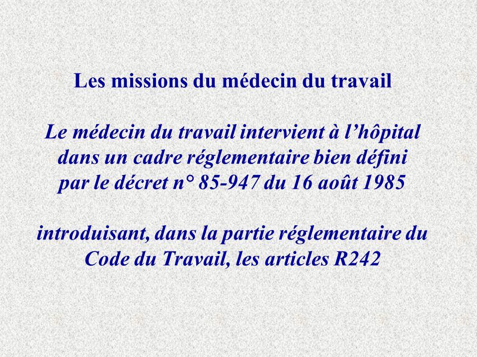 Les missions du médecin du travail Le médecin du travail intervient à lhôpital dans un cadre réglementaire bien défini par le décret n° 85-947 du 16 a