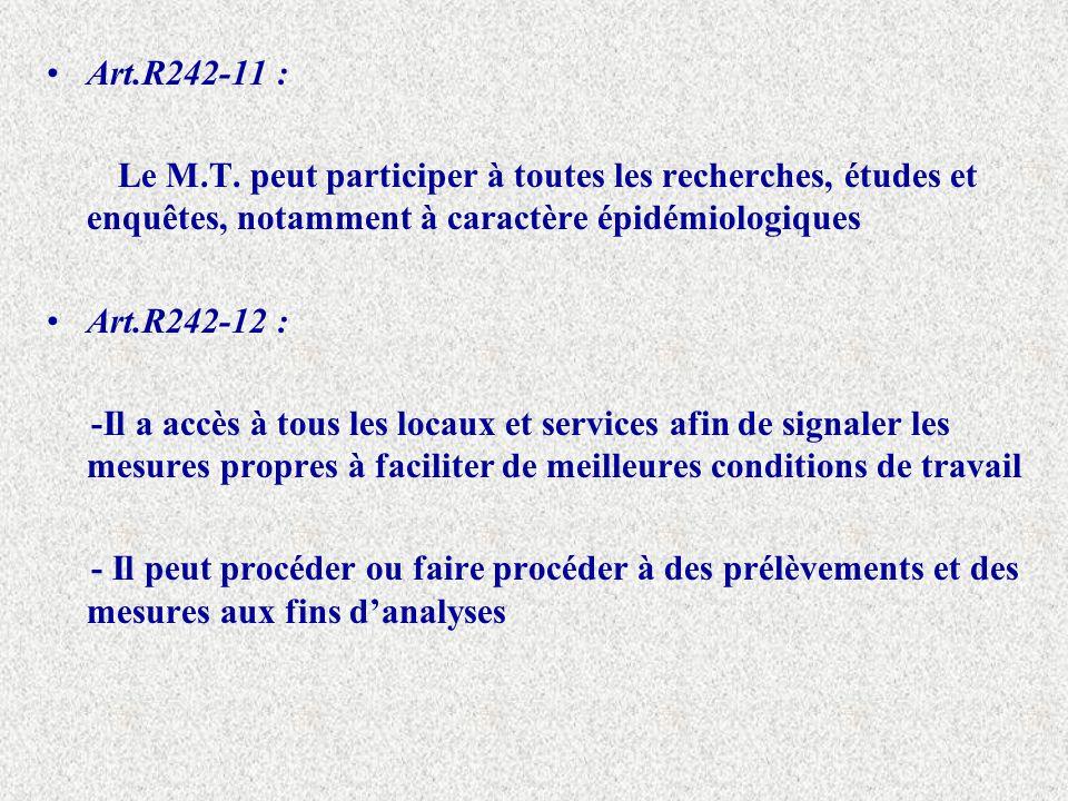 Art.R242-11 : Le M.T. peut participer à toutes les recherches, études et enquêtes, notamment à caractère épidémiologiques Art.R242-12 : -Il a accès à