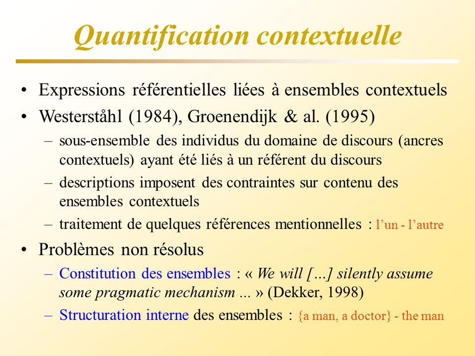 Quantification contextuelle Expressions référentielles liées à ensembles contextuels Westerståhl (1984), Groenendijk & al. (1995) –sous-ensemble des i