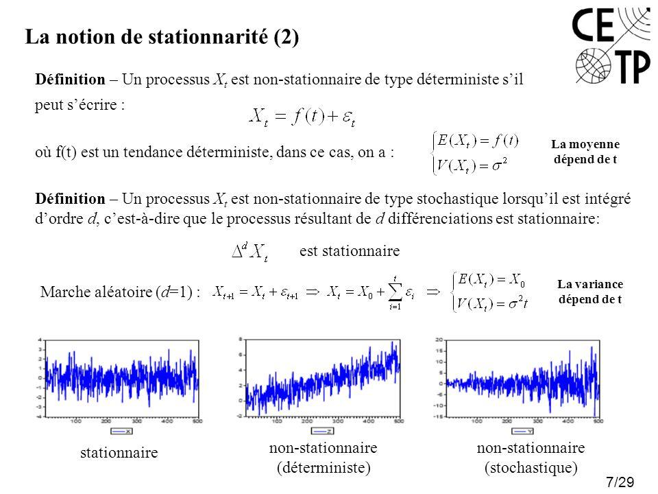 La notion de stationnarité (2) 7/29 Définition – Un processus X t est non-stationnaire de type déterministe sil peut sécrire : où f(t) est un tendance déterministe, dans ce cas, on a : La moyenne dépend de t Définition – Un processus X t est non-stationnaire de type stochastique lorsquil est intégré dordre d, cest-à-dire que le processus résultant de d différenciations est stationnaire: Marche aléatoire (d=1) : La variance dépend de t est stationnaire stationnaire non-stationnaire (déterministe) non-stationnaire (stochastique)