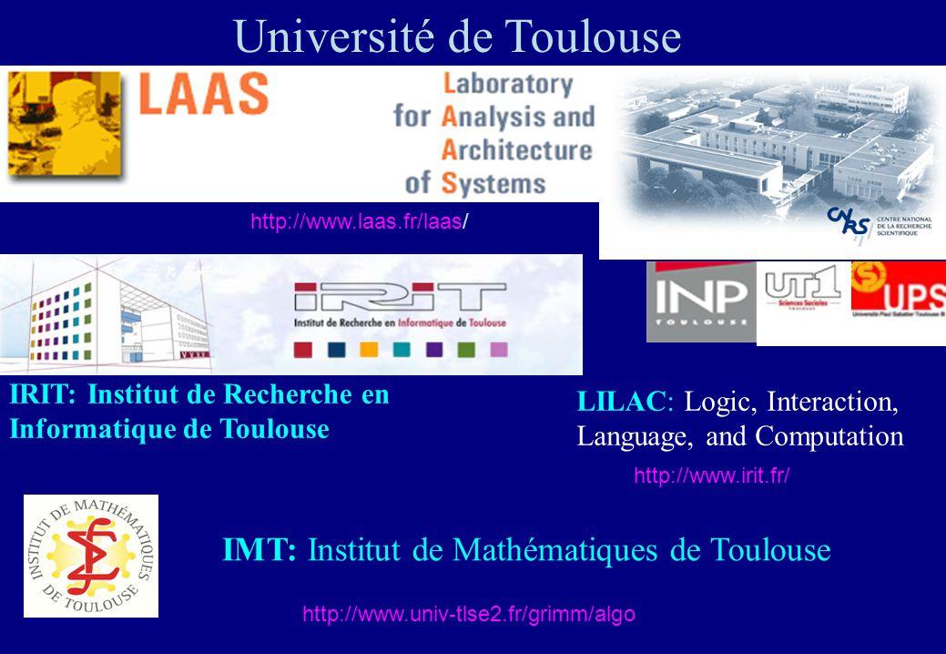 Université de Toulouse http://www.laas.fr/laas/ IRIT: Institut de Recherche en Informatique de Toulouse LILAC: Logic, Interaction, Language, and Compu